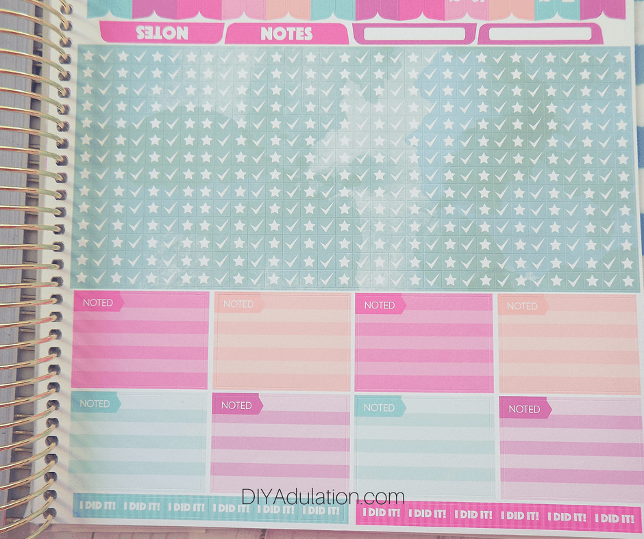 Close Up of Stars and Checks Stickers Page of Goal Getter Planner