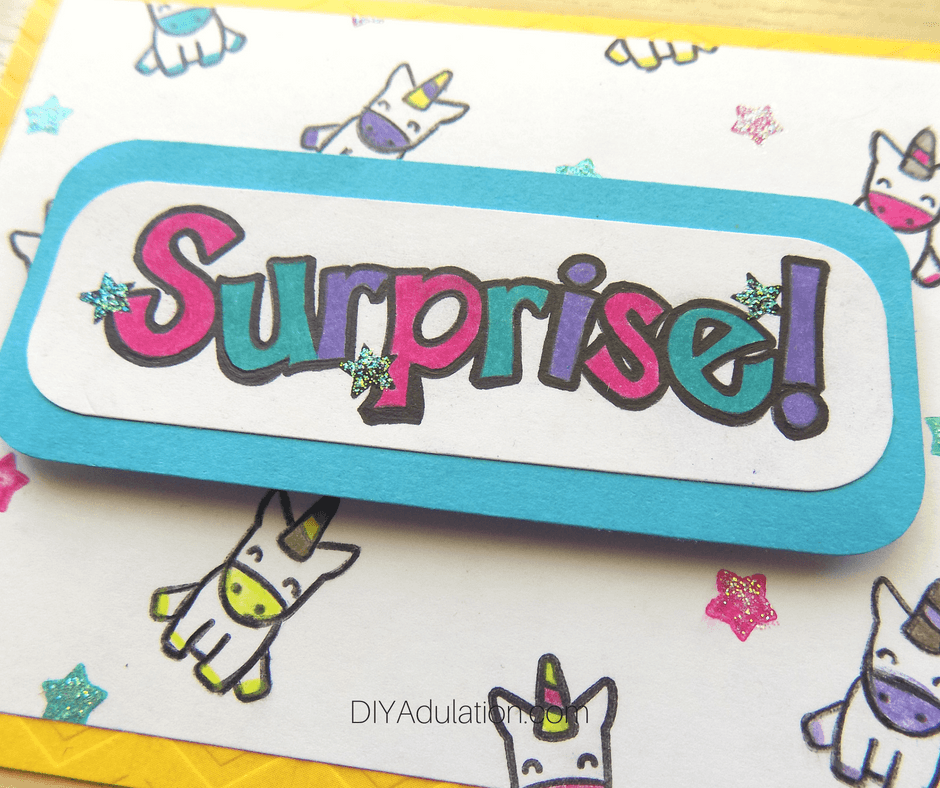 Close Up of Surprise Unicorn Card