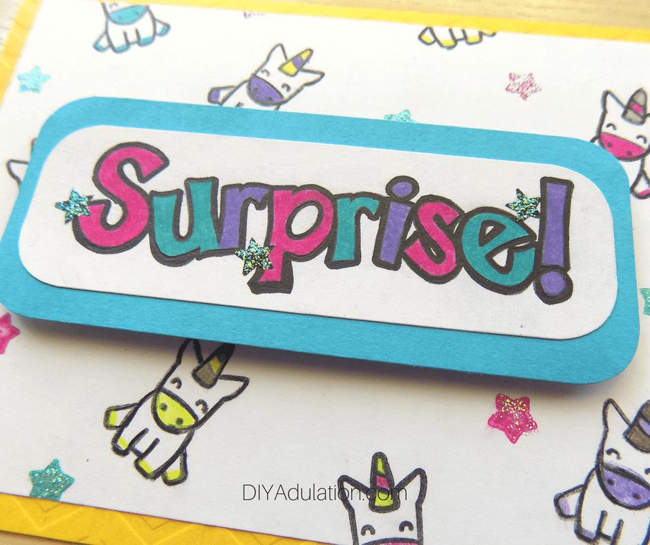 Close Up of Surprise Unicorn Card