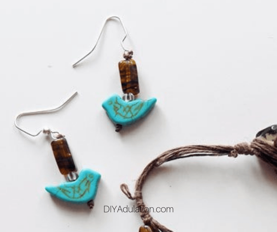 Close Up of Turquoise Bird Earrings