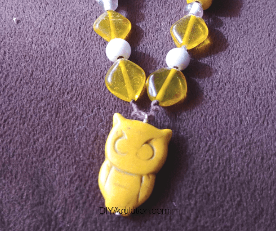 Yellow Owl Pendant on Necklace