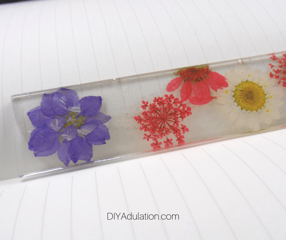 Close up of Bottom of Pressed Flower Bookmark