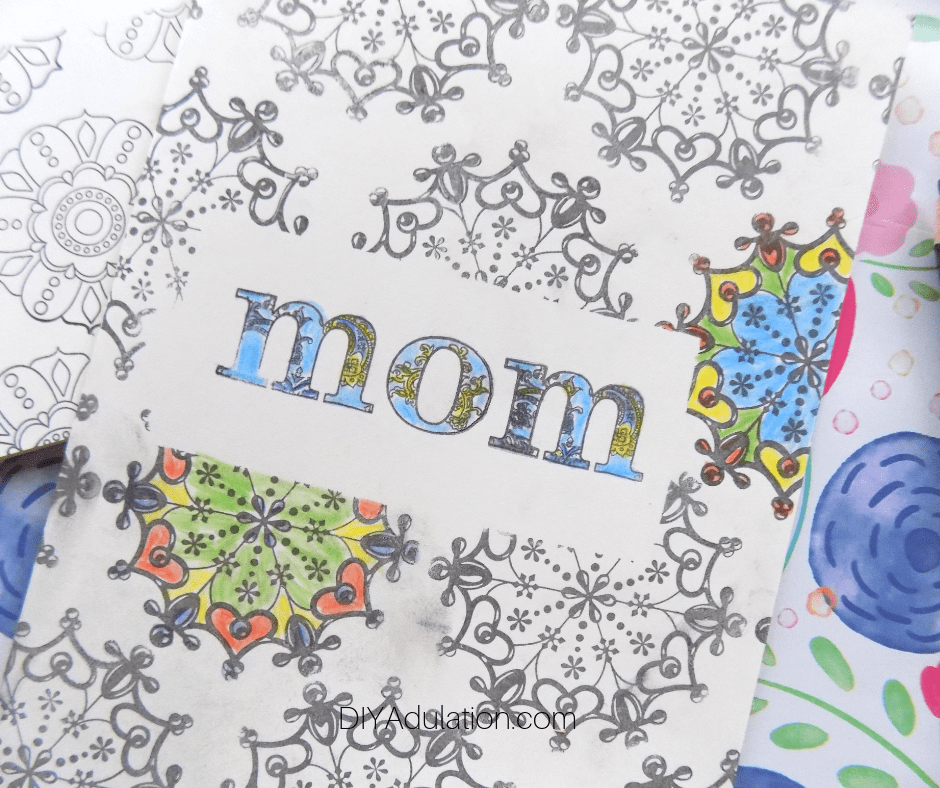 Close up of Colored Mothers Day Card