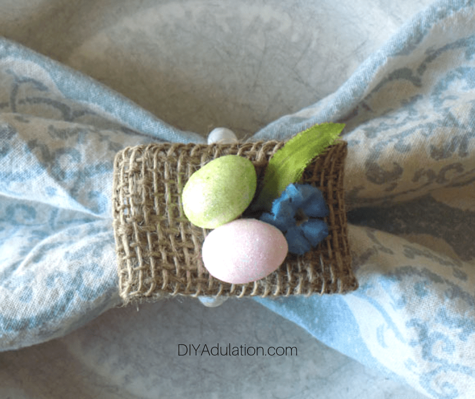 Close up of Easter Napkin Ring with Napkin Inside
