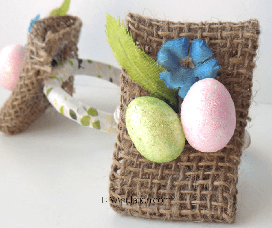 Close up of Easter Napkin Ring with one in the Background