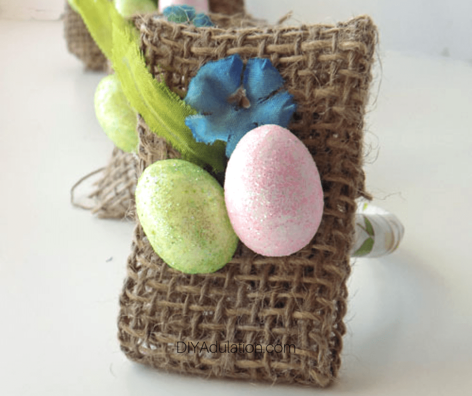 Close up of Front Easter Napkin Ring in Row