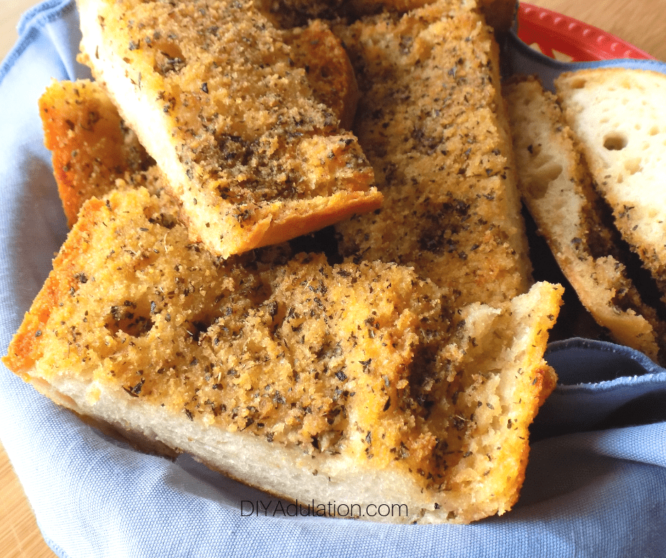 Close up of Pieces of Garlic Bread in Basket