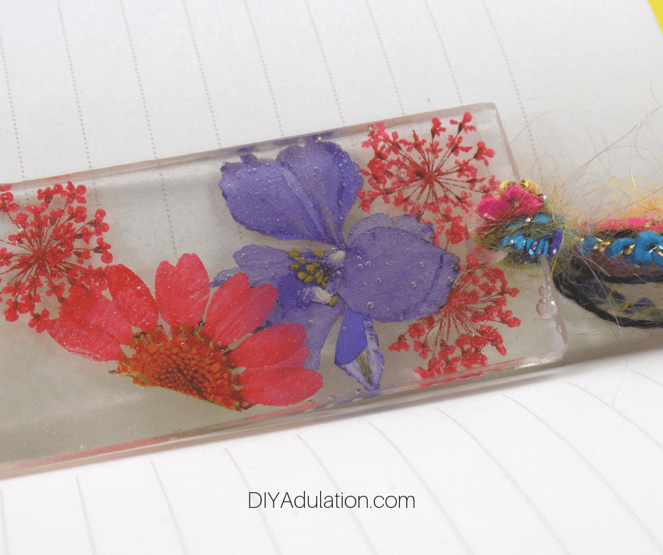 Close up of Pressed Flower Bookmark