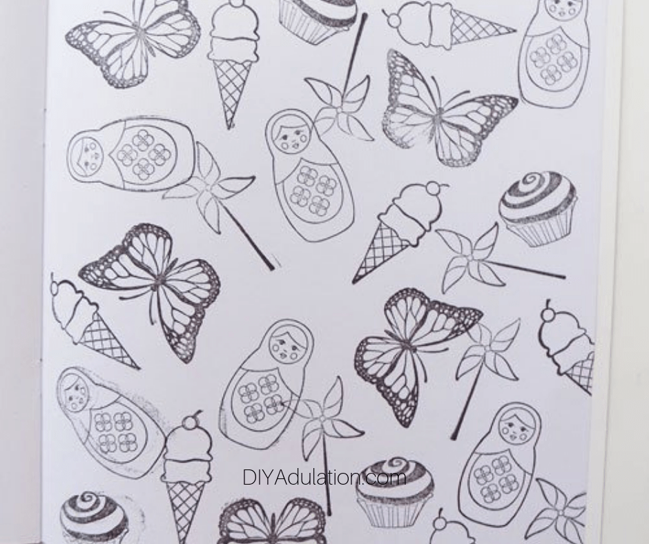 Close up of Stamped Coloring Page