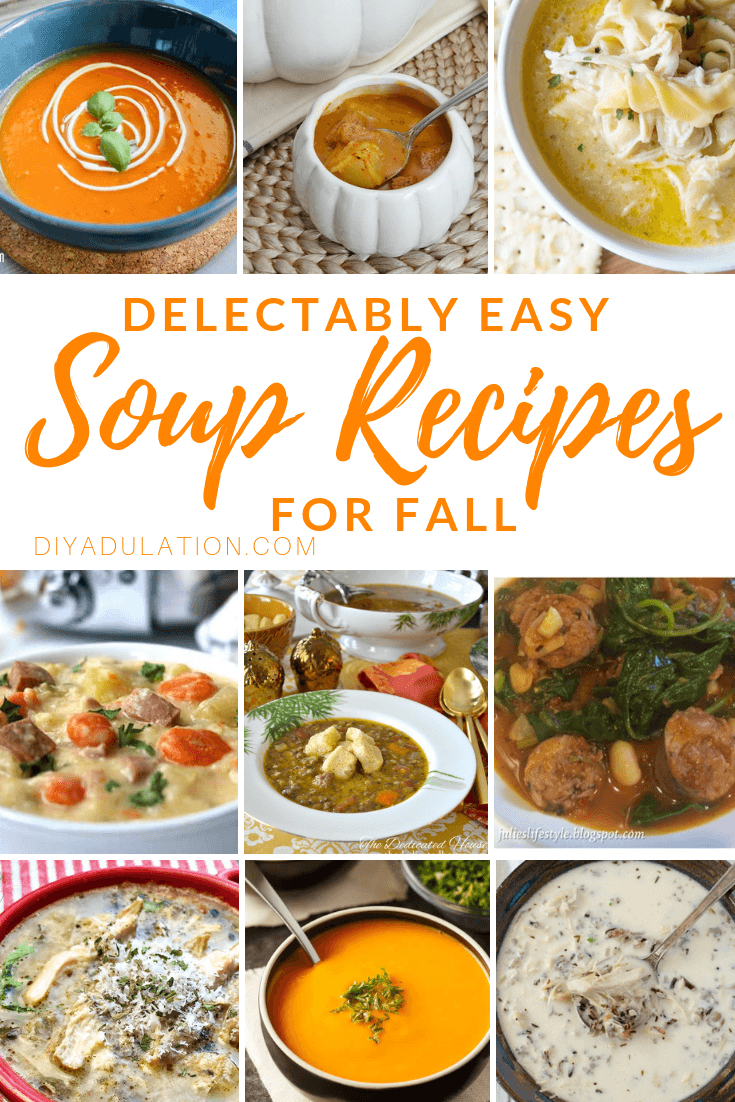 Collage of Bowls of Soup with text overlay - Delectably Easy Soup Recipes for Fall