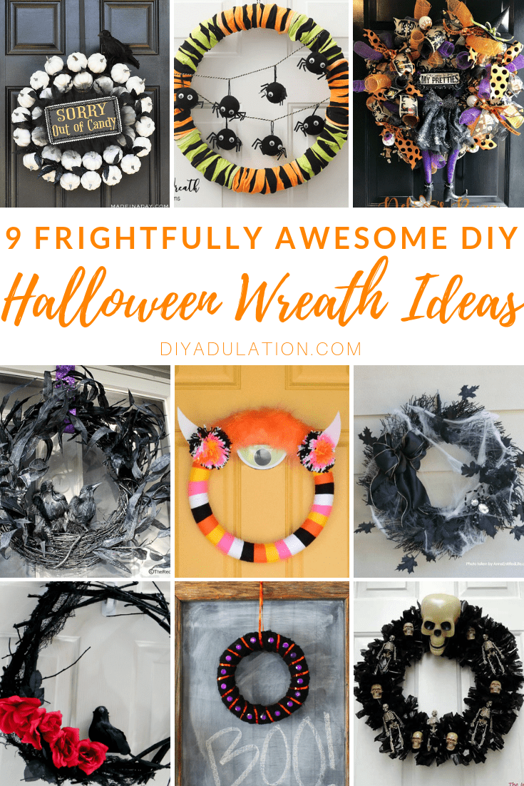 Collage of Halloween Wreaths with text overlay_ 9 Frightfully Awesome DIY Halloween Wreath Ideas