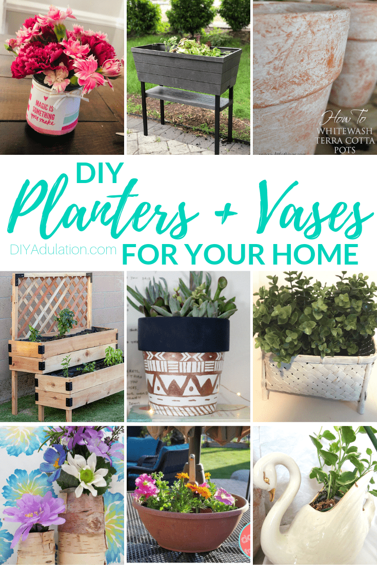 Collage of Planters and Vases with text overlay - DIY Planters and Vases for Your Home