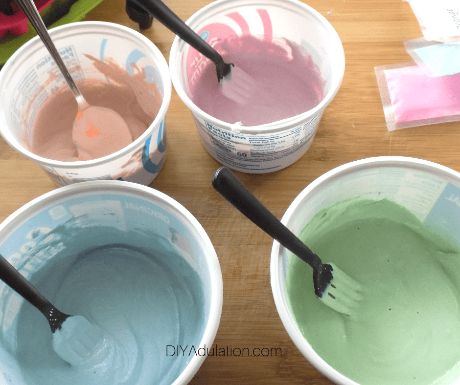 Color Mixed into Plaster in Small Bowls