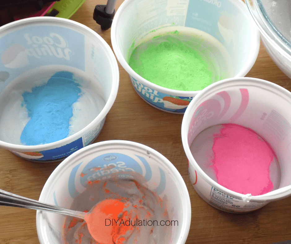 Color Powder on Plaster Mixture in Small Bowls