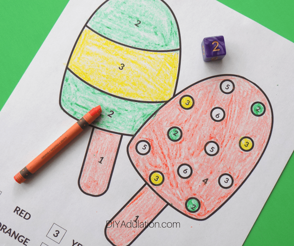 Colored Ice Cream Color by Number Sheet with Orange Crayon and Die