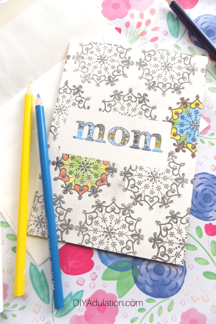 Colored Stamped Mom Card next to Colored Pencils