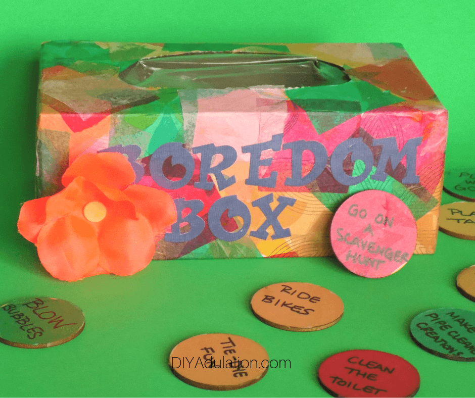 Colorful Boredom Box with Flower next to Discs