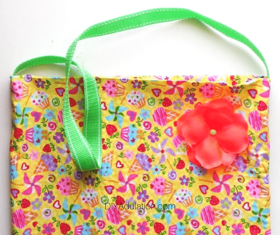 Colorful Candy Purse with Green Handle and Flower