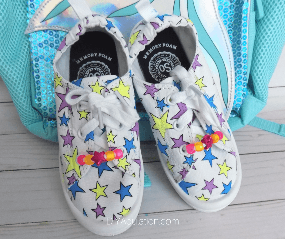 Colorful DIY Star Shoes with Beaded Laces