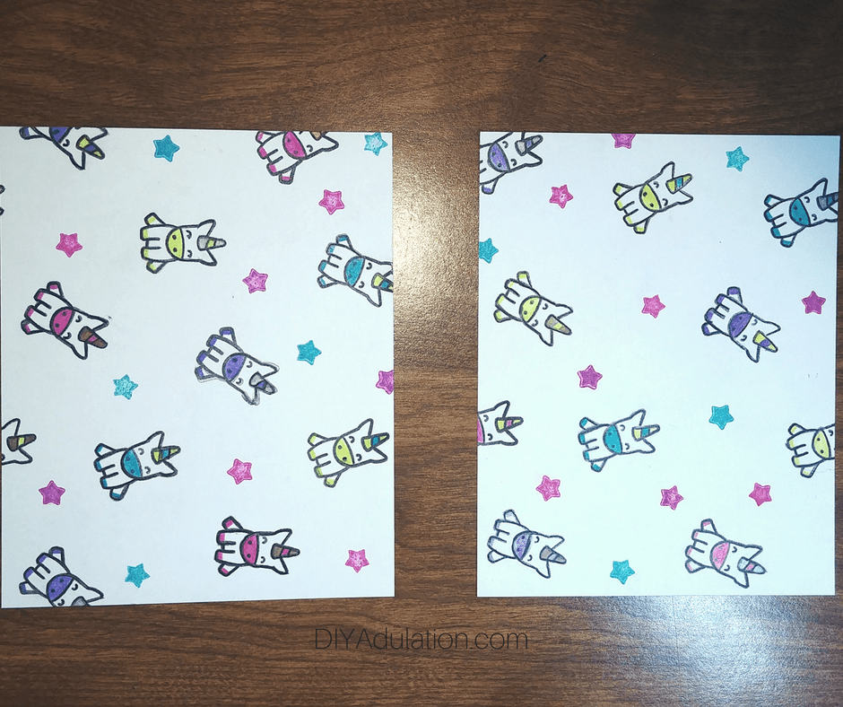 Colorful Unicorns and Stars on 2 Pieces of White Paper