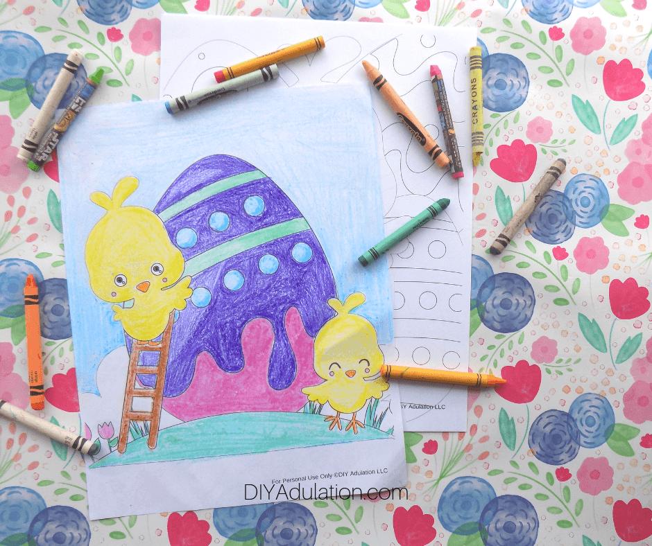 Coloring Sheets Next to Crayons