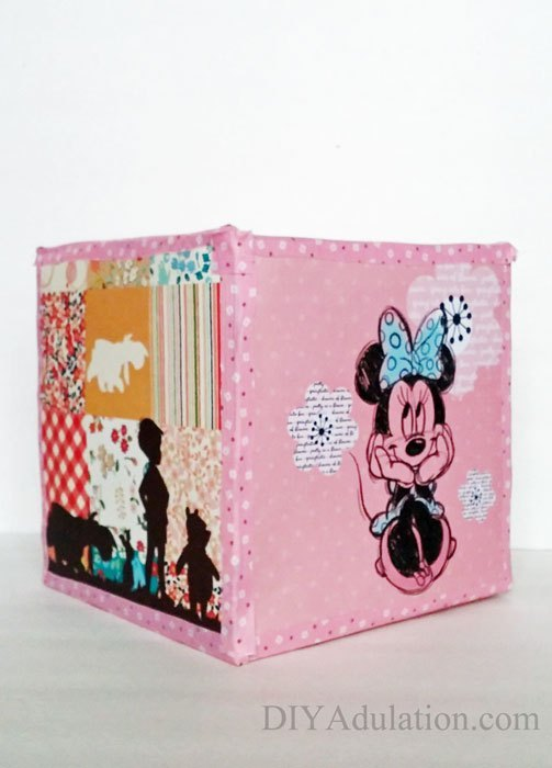 Pink Square Bank with Minnie Mouse on it
