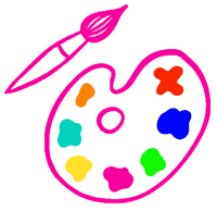 Drawn paint brush and paint pallet
