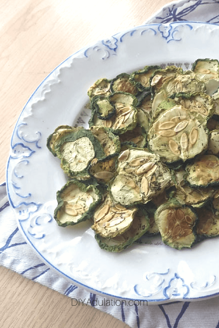 Cucumber Chips on Plate