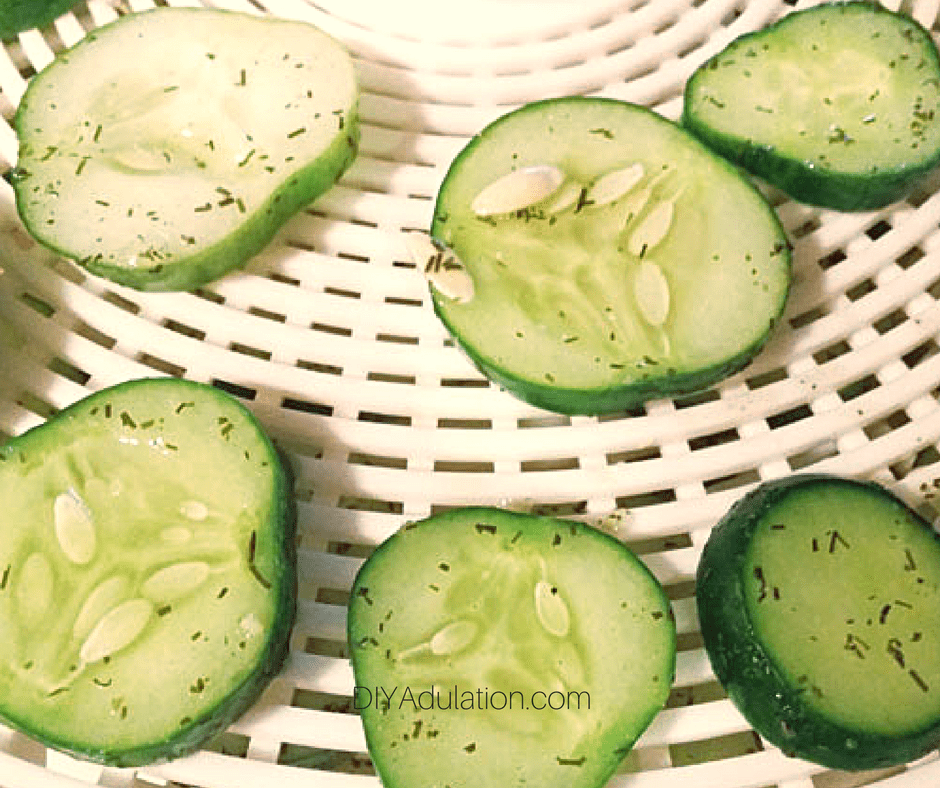 Cucumber Chips on Dehydrator Tray