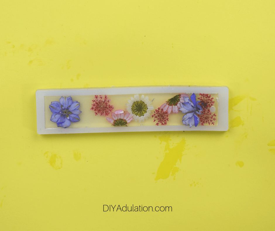 Cured Resin Pressed Flower Bookmark in Mold