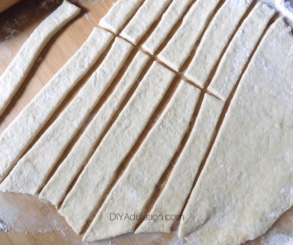 Cut Strips of Dough
