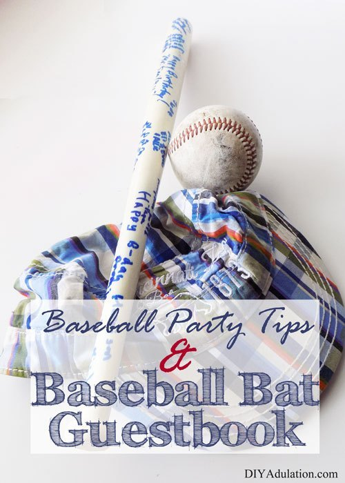 Small Bat Next to Hat and Ball with text overlay - Baseball Party Tips and Baseball Bat Guestbook