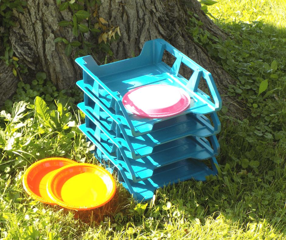 DIY Disc Toss Game next to Tree