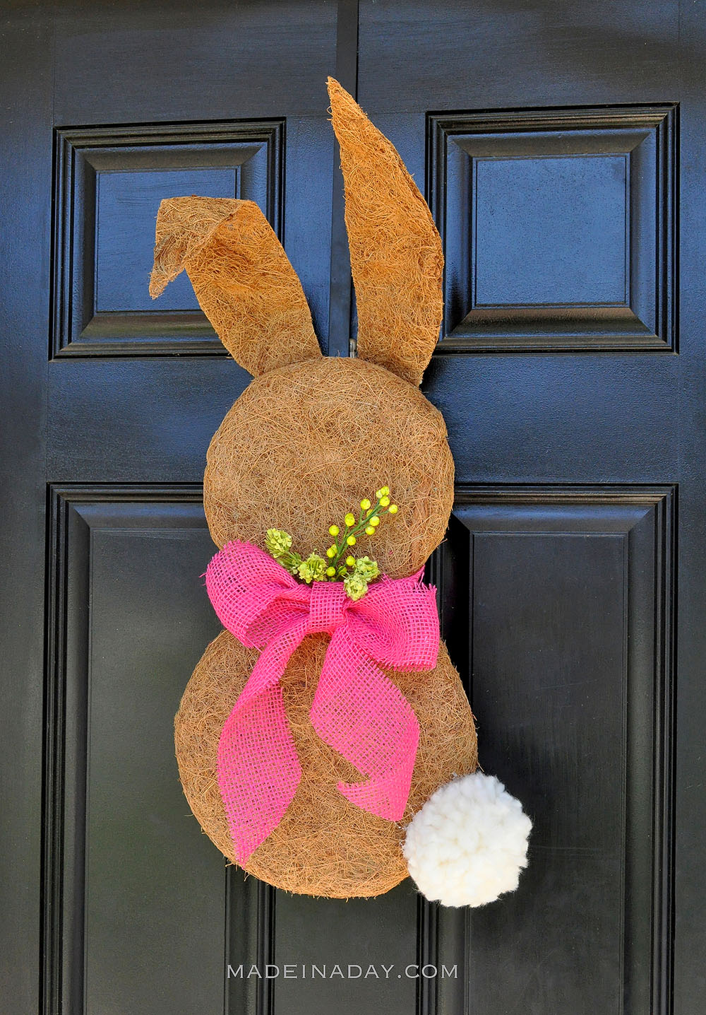 Easter Bunny Moss Wreath on Black Door