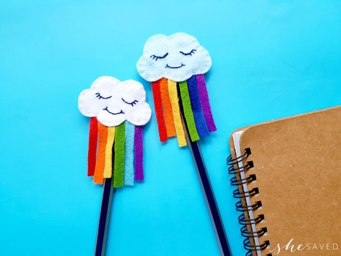 Felt Rainbow Cloud Pen Toppers