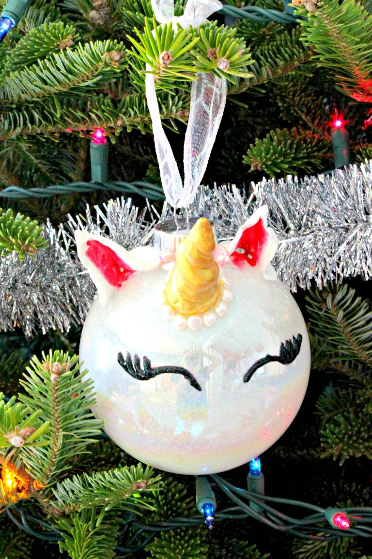 Glittery Unicorn Ornament Hanging on Tree