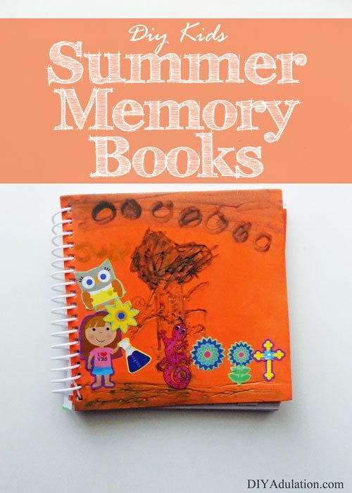 Orange Spiral Bound Book with text overlay - DIY Kids Summer Memory Books
