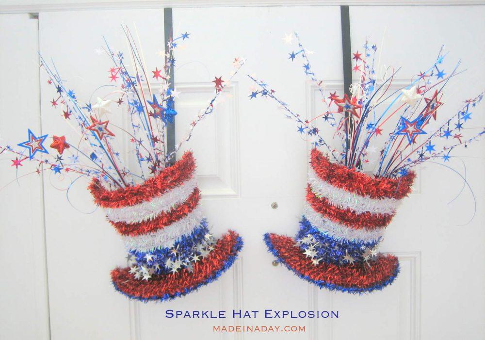 Patriotic Sparkle Hat Explosion Door Hangers on Doors