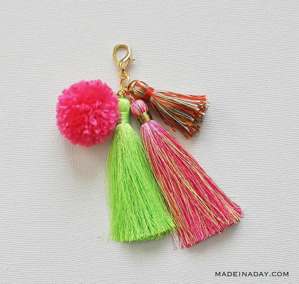 Brightly colored pom and tassels accessory