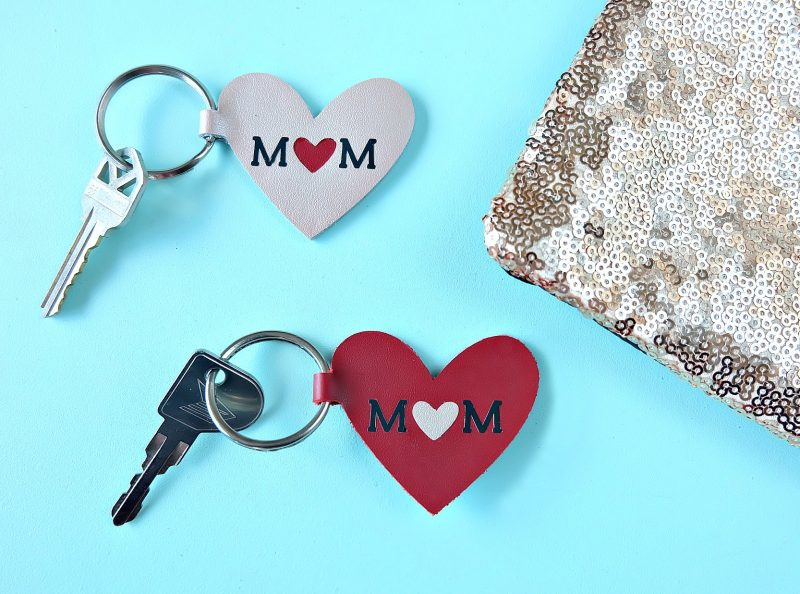 Leather Mom Heart Key Chains