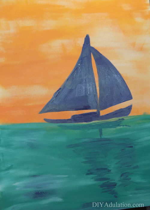 Close up of Sunset Sailboat Painting