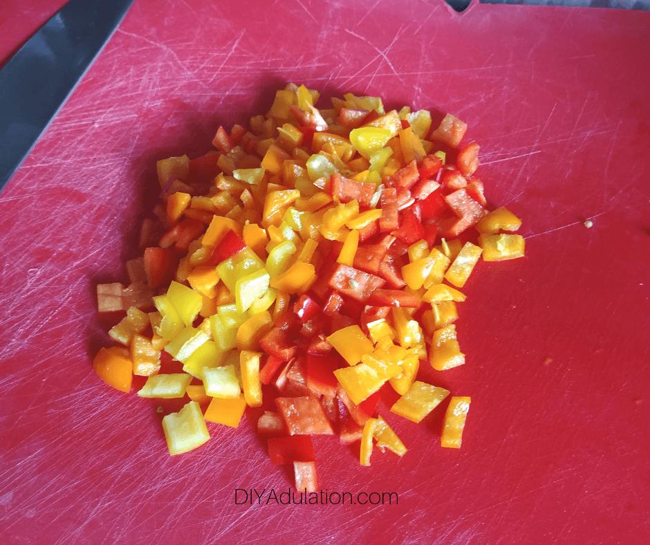 Diced Mini Sweet Peppers on Cutting Board