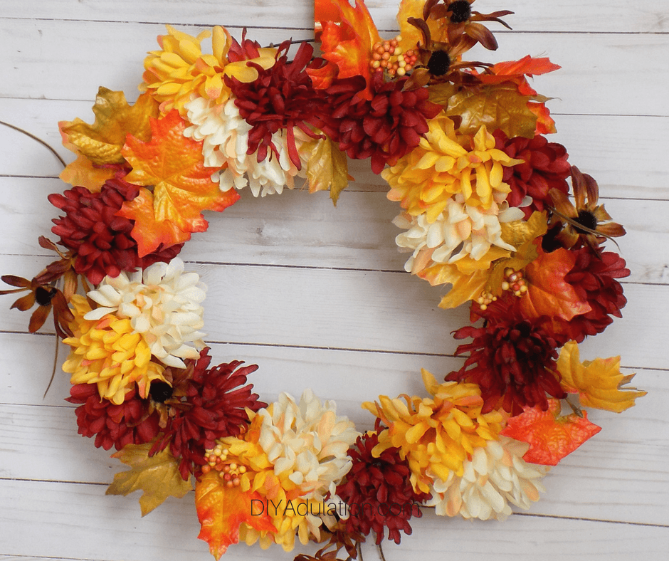 Orange, Red, and Cream Floral Fall Wreath