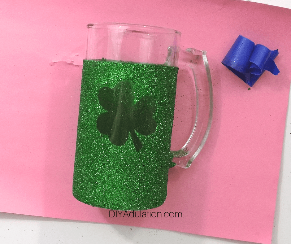 Dried Green Glitter Stein with Shamrock Window