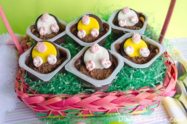 basket of bunny butt pudding cups