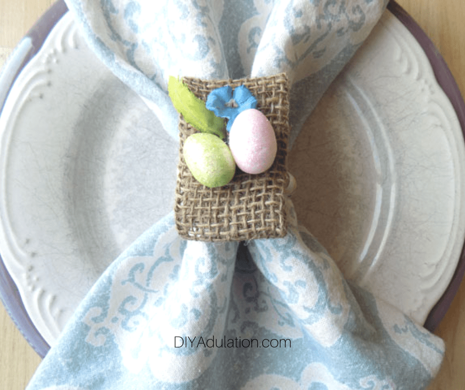 Easter Napkin Ring with Napkin Inside on Plate