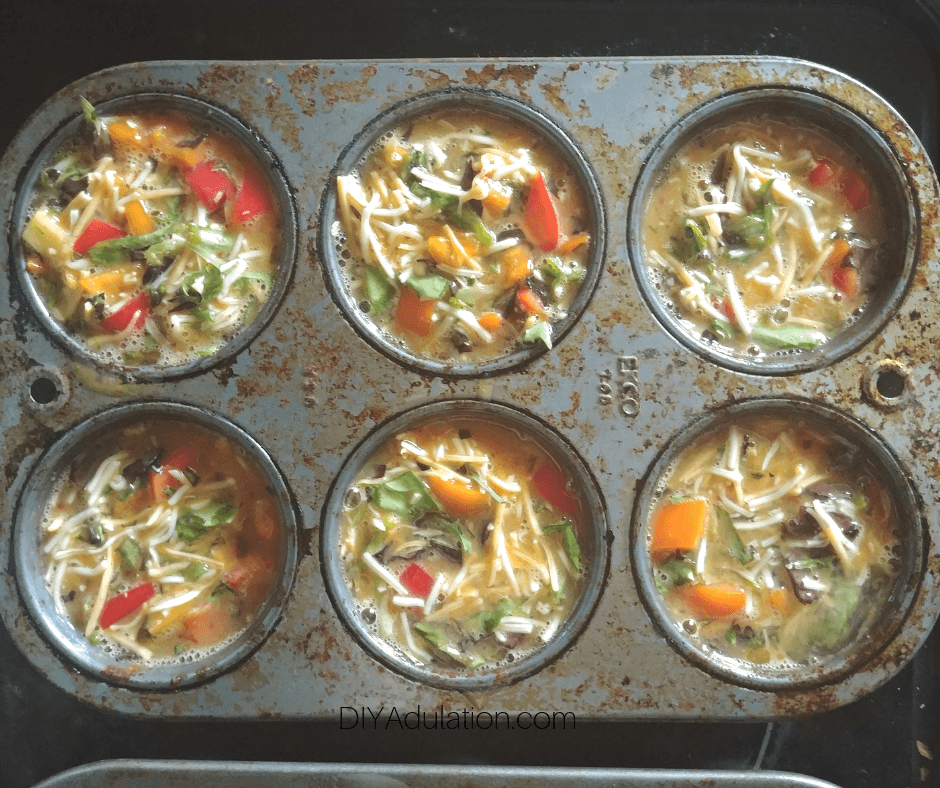Egg Mixture in Muffin Pan