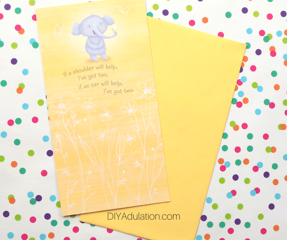 Elephant Card on Polka Dot Background