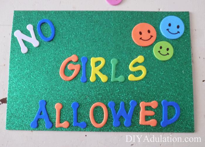 Glittery Boys Door Sign