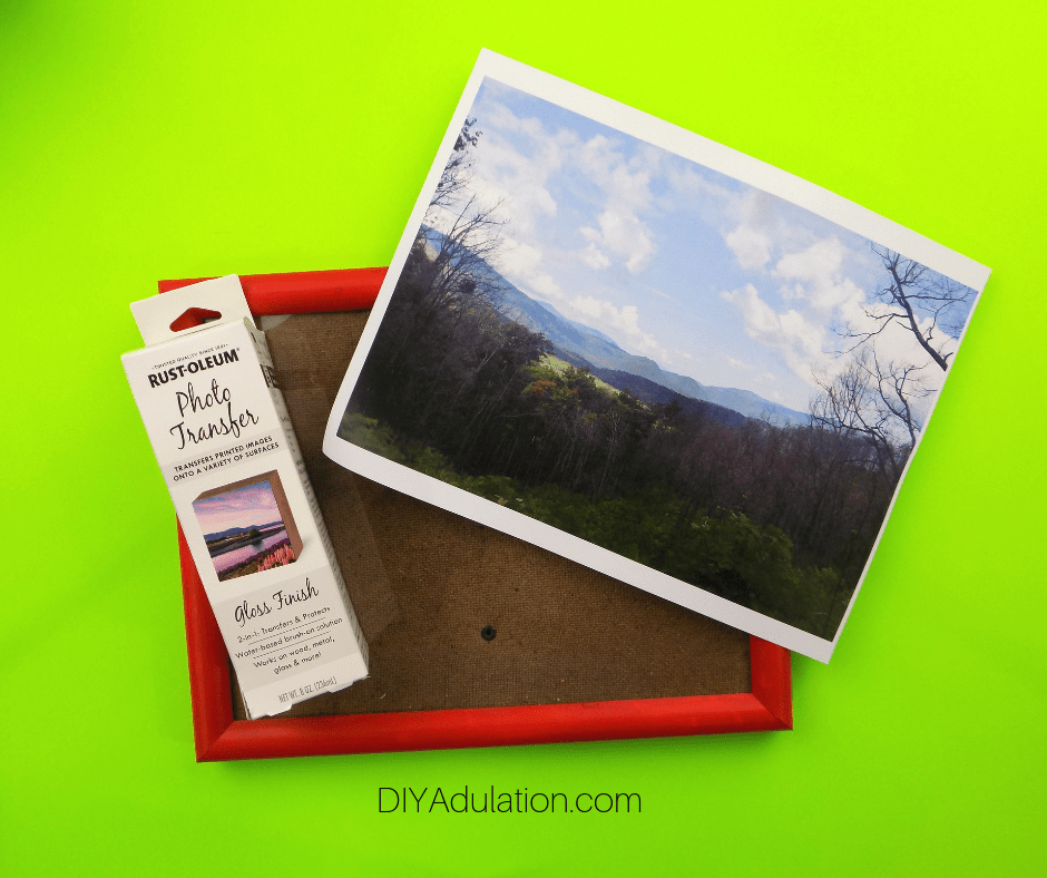 Empty Frame, Photo Transfer Solution, and Laser Printed Photo